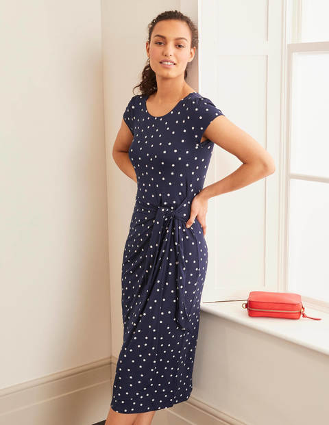 Tamara Jersey Wrap Midi Dress - Navy and Ivory, Polka Spot