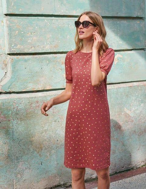 Zoe Jersey T-shirt Dress - Rouge and Gold, Polka Spot