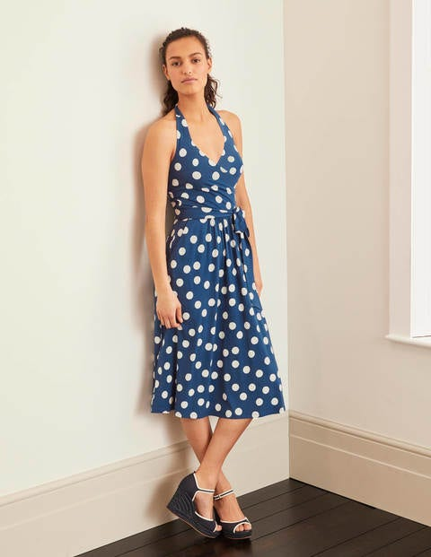 Tess Halterneck Jersey Dress - Blue Decadence, Spotty Dot