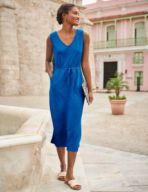 Helen Linen Midi Dress - Bold Blue