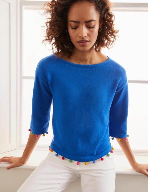 Pompom Cotton Jumper - Bold Blue