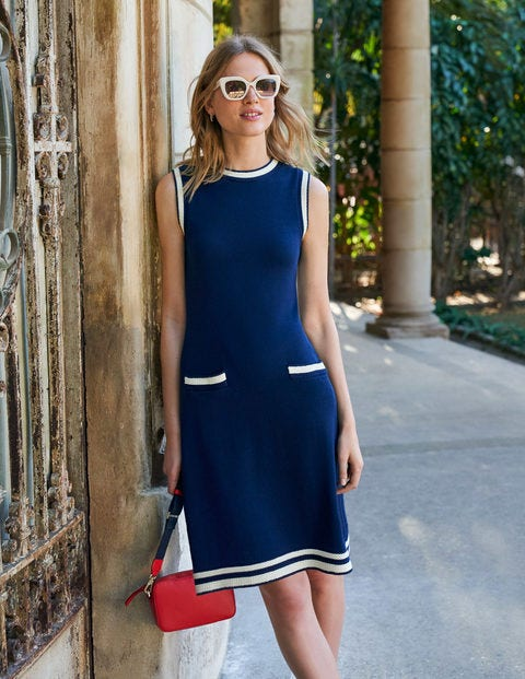 Mira Stitch Cotton Dress - Navy