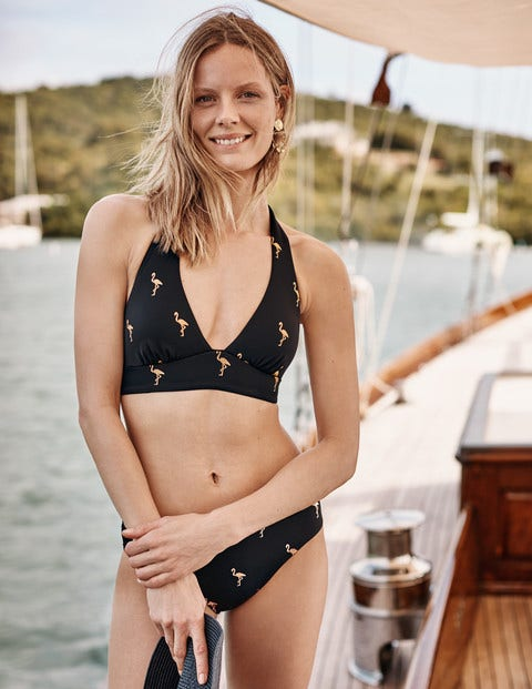 Bikini Bottoms - French Navy, Flamingo Foil