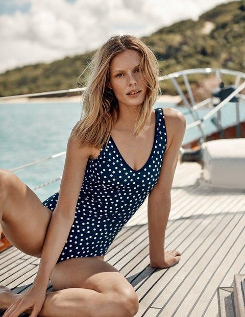 Symi Swimsuit - Navy, Scattered Dot
