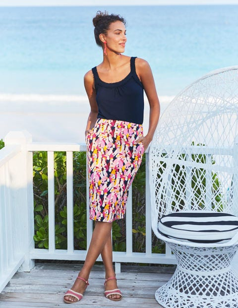 Gabriella Pencil Skirt - Bright Camellia, Exotic Birds
