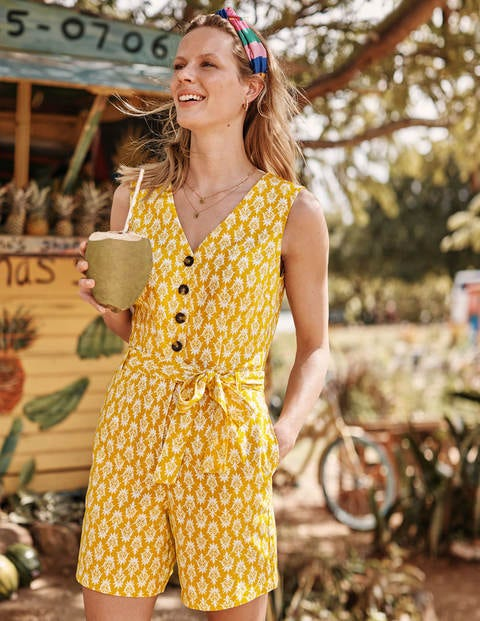 Verity Playsuit - Yellow Woodblock