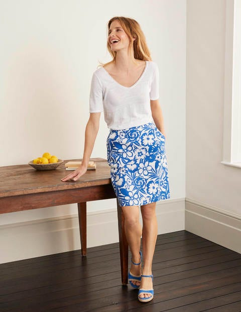 Lathbury Linen Mini Skirt - Blue Floral