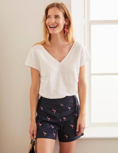 Flamingo Embroidered Shorts - Navy/Pink Emb Flamingo