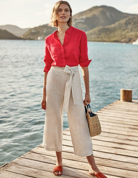 Linen Shirt - Hibiscus