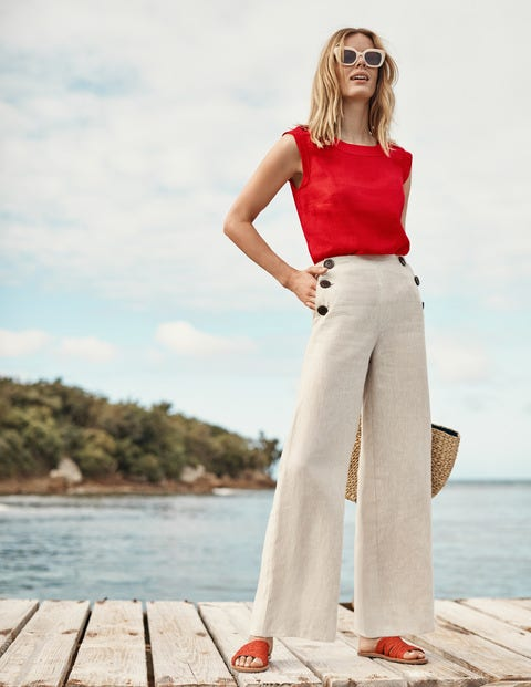 Julianne Linen Shell Top - Post Box Red