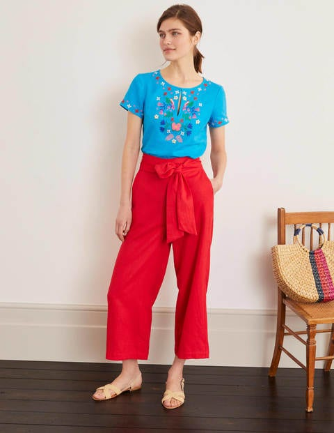 Laura Linen Embroidered Top