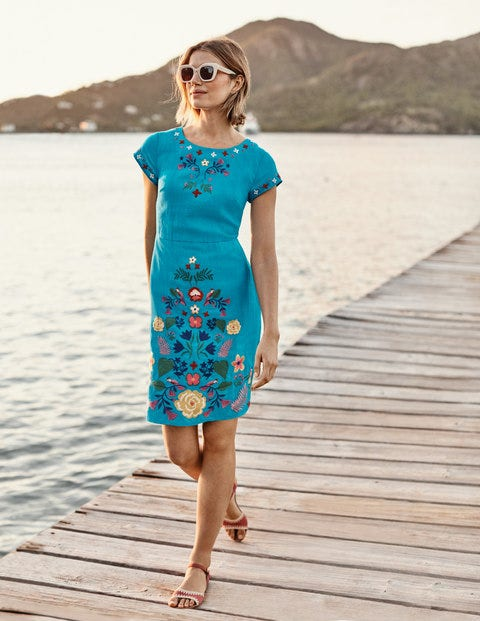 Laura Linen Embroidered Dress - Blue Lagoon