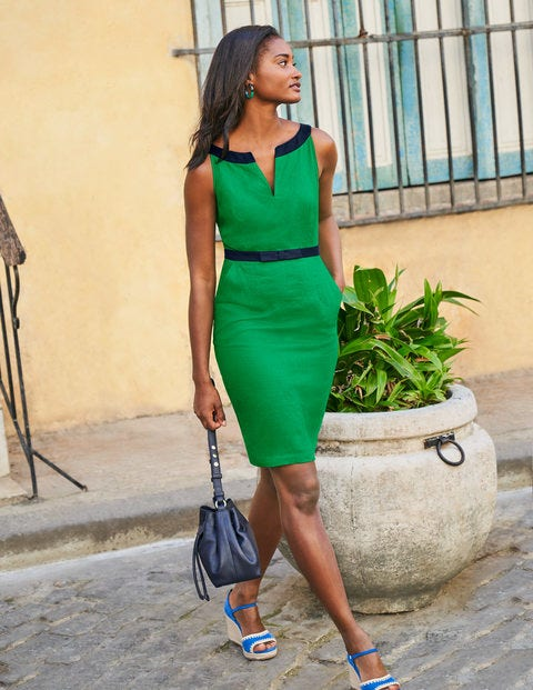 Oriel Linen Dress - Rich Emerald