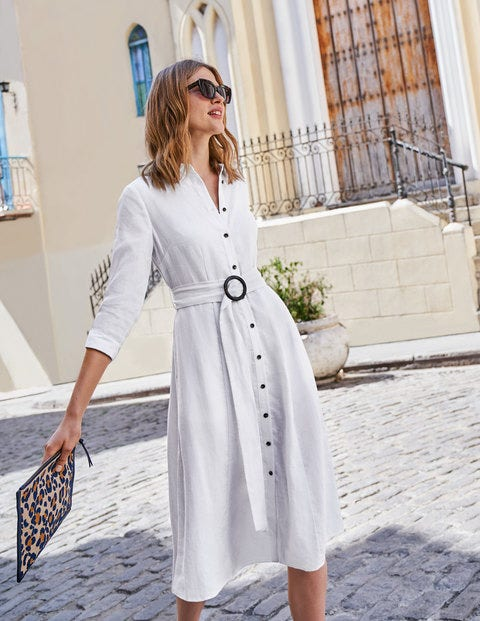 Olivia Linen Shirt Dress - White