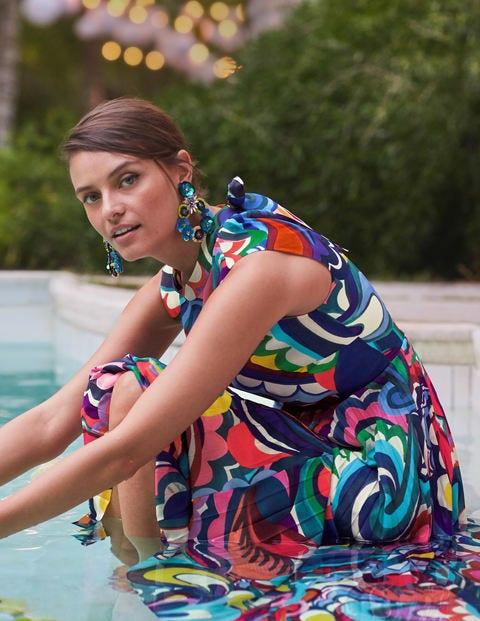 Jocelyn Pleated Midi Dress - Blue Wave, Painted Paisley
