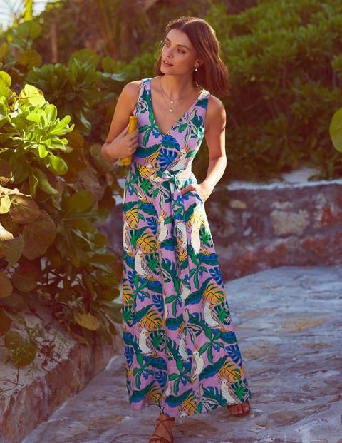 Livia Linen Maxi Dress - Lupin, Parakeet Palm