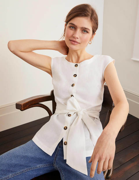 Cassidy Linen Top - White