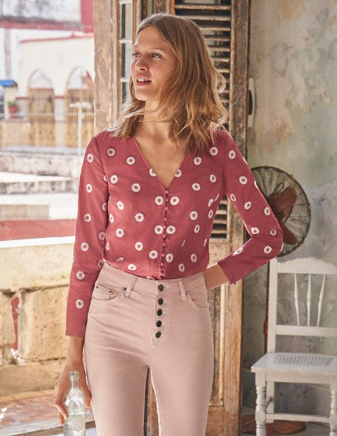 Diana Embroidered Top - Rouge Daisy Embroidery