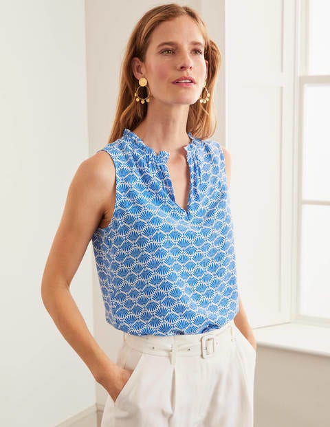 Christabel Top - Bold Blue, Deco Palm