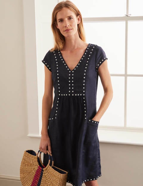 Leandra Embroidered Dress - Navy