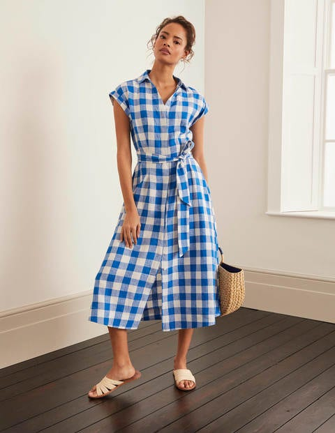 Cassidy Linen Dress - Bold Blue Gingham
