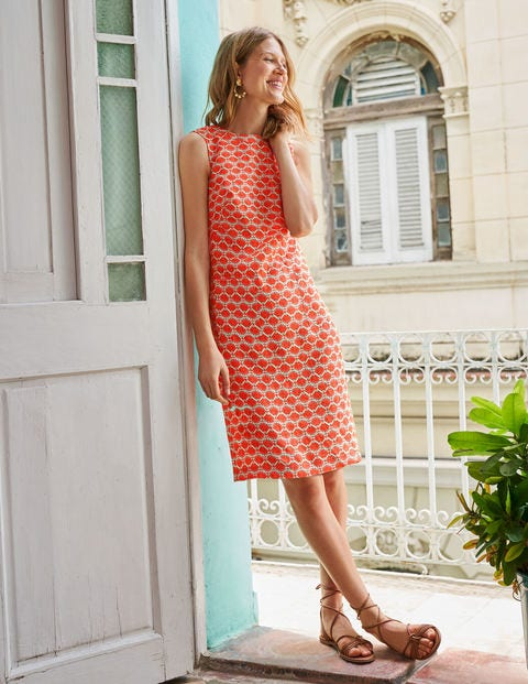 Natalia Linen Dress - Orange Sunset, Deco Palm