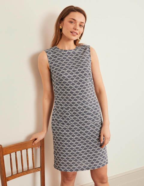Natalia Linen Dress - Navy, Deco Palm