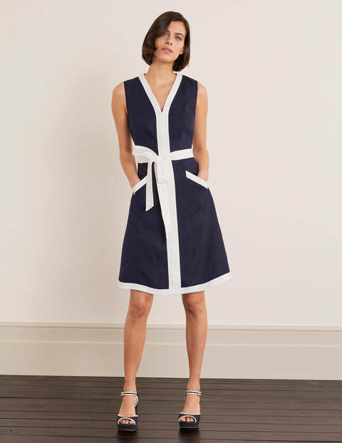 Josie Belted Dress - Navy