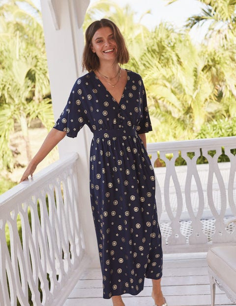Rosie Maxi Dress - Navy and Gold, Stamp