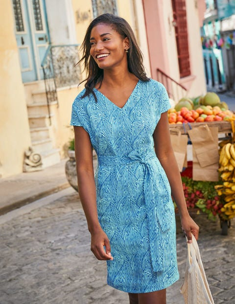 Lara Linen Dress - Bold Blue, Tropical Leaf