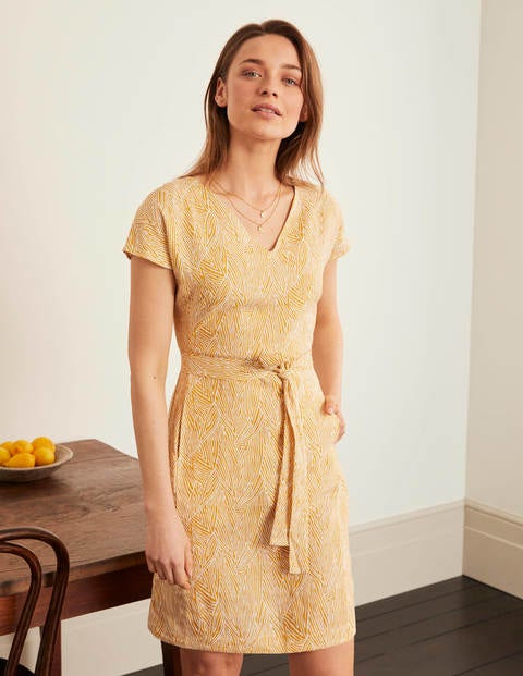 Lara Linen Dress - Tuscan Sun, Tropical Leaf