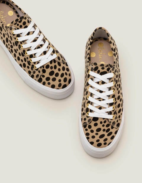 Canvas Flatform Plimsolls - Natural Cheetah