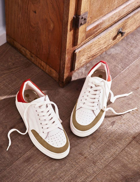 Emily Trainers - White/Camel/Red