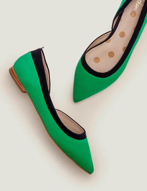 Sophia Pointed Flats - Rich Emerald/Navy