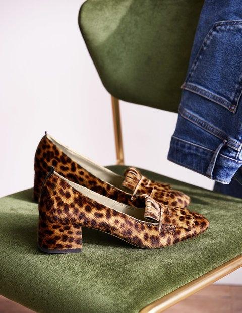 Victoria Mid Heel Loafers - Tan Leopard