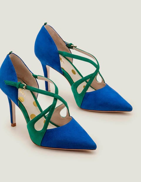 Rosemary Heels - Bold Blue/Forest Green