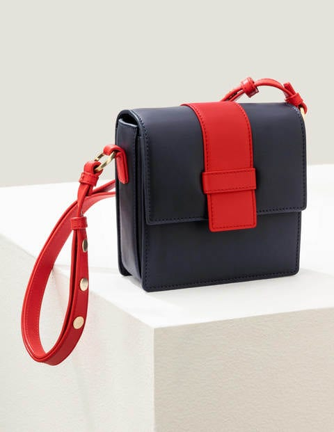 Miranda Satchel Bag - Navy/Post Box Red