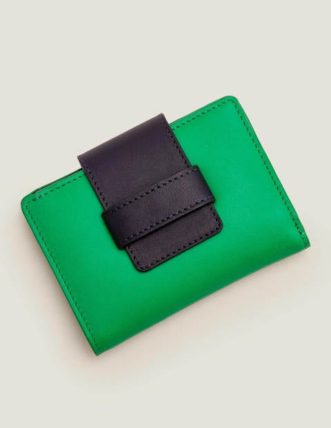 Leather Purse - Rich Emerald/Navy