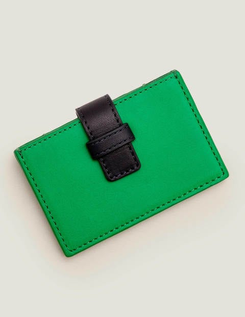 Leather Card Holder - Rich Emerald/Navy