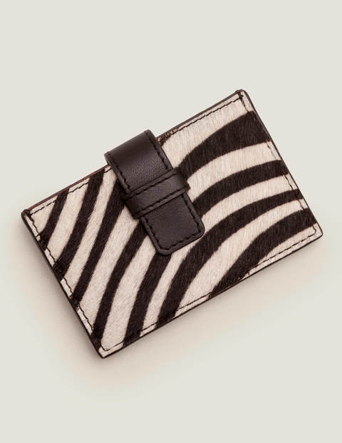 Leather Card Holder - Zebra/Black