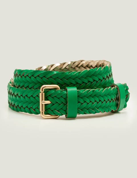 Woven Buckle Belt - Rich Emerald