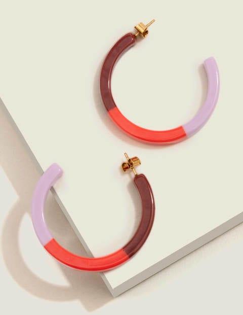 Resin Hoop Earrings - Rosebay/Orange Sunset/Maroon