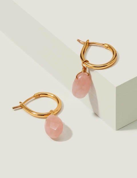Semi-Precious Hoops - Gold/Rose Quartz