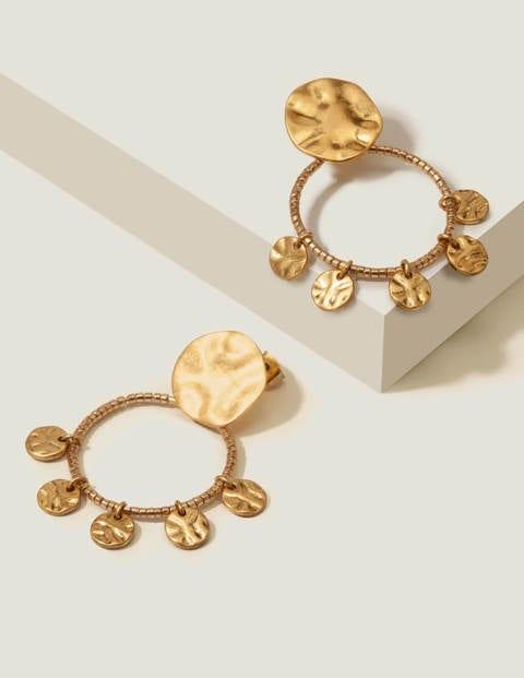 Beaded Disc Earrings - Gold Metallic