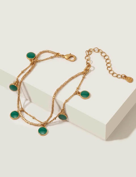 Enamel Bracelet - Gold Metallic/Forest Green