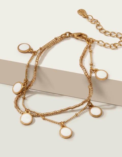 Enamel Bracelet - Gold Metallic/Ivory
