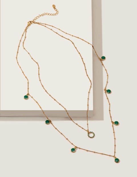 Enamel Layered Necklace - Gold Metallic/ Forest Green