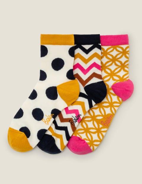 Three Pack Ankle Socks - Tuscan Sun Multi