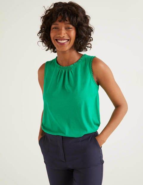 Jersey-Trägershirt mit Rüschen - Sattes Smaragdgrün