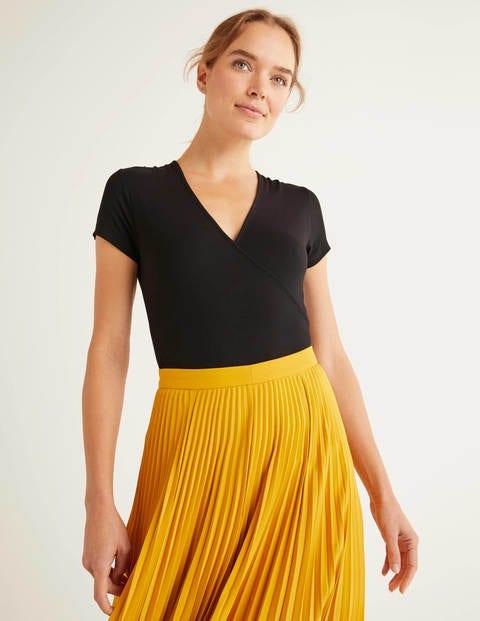 Short Sleeve Jersey Wrap Top - Black